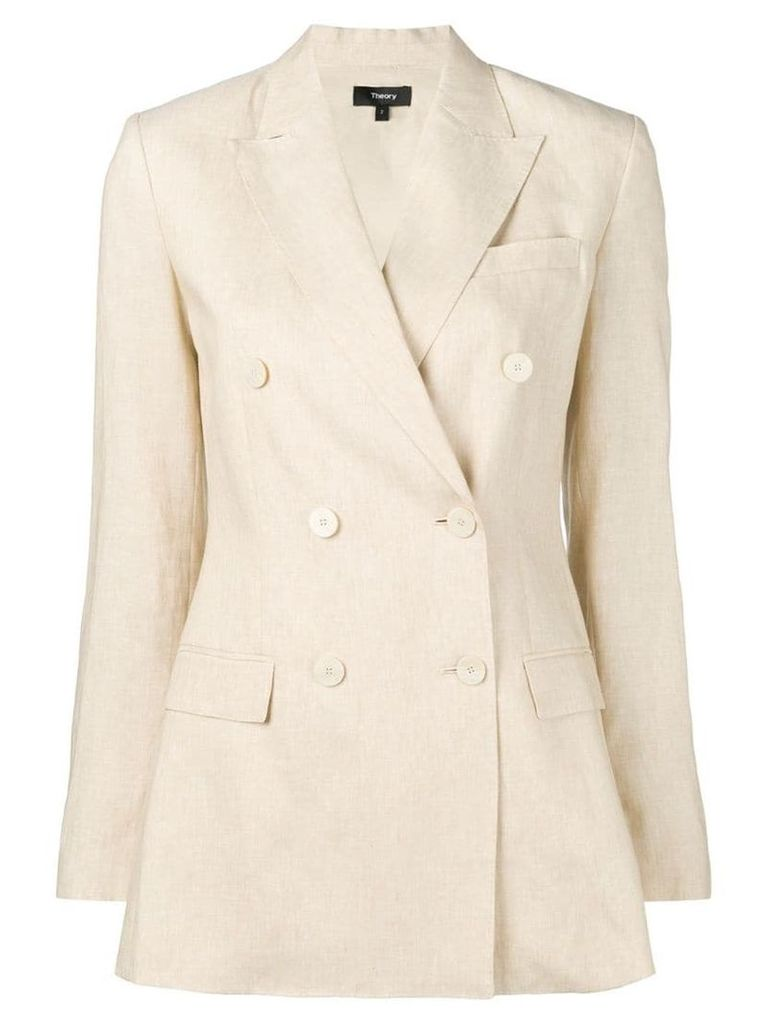 Theory double-breasted tailored blazer - Neutrals