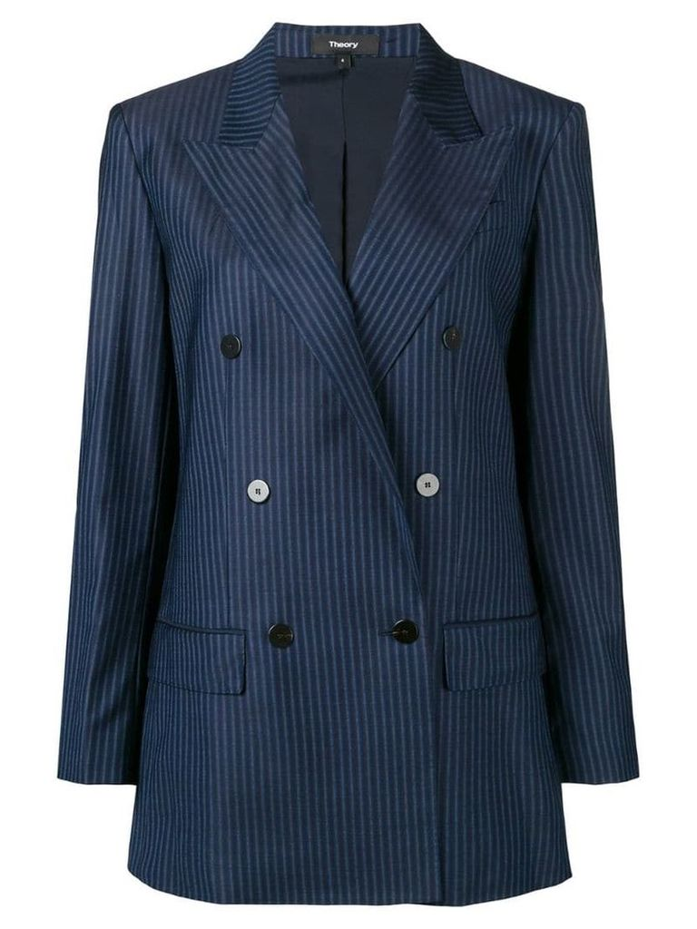 Theory striped double-breasted blazer - Blue