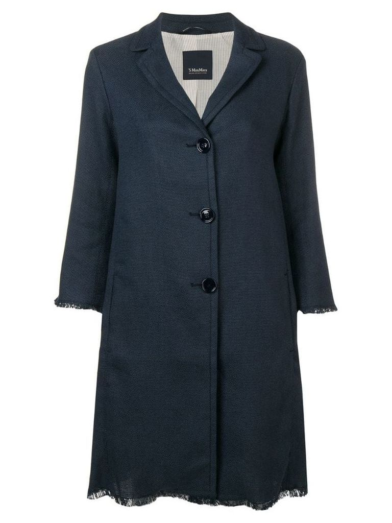 'S Max Mara fringed single-breasted coat - Blue