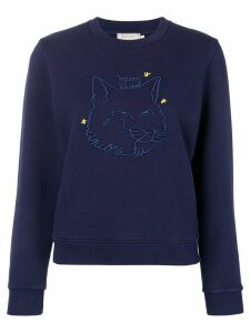 Maison Kitsuné embroidered Fox sweatshirt - Blue