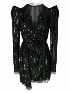 Amen structured shoulder mini dress - Black