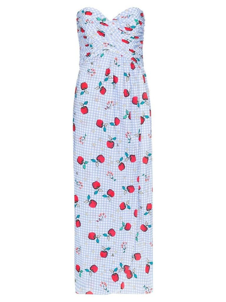 Rebecca De Ravenel apple print sweetheart-neck dress - Blue