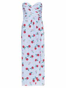 Rebecca De Ravenel apple print sweetheart-neck dress - Blue