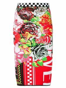 Versace printed knit pencil skirt - Red