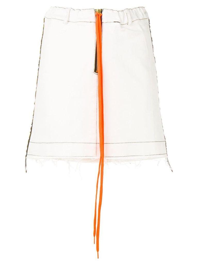 Mia-Iam side stripe denim skirt - White