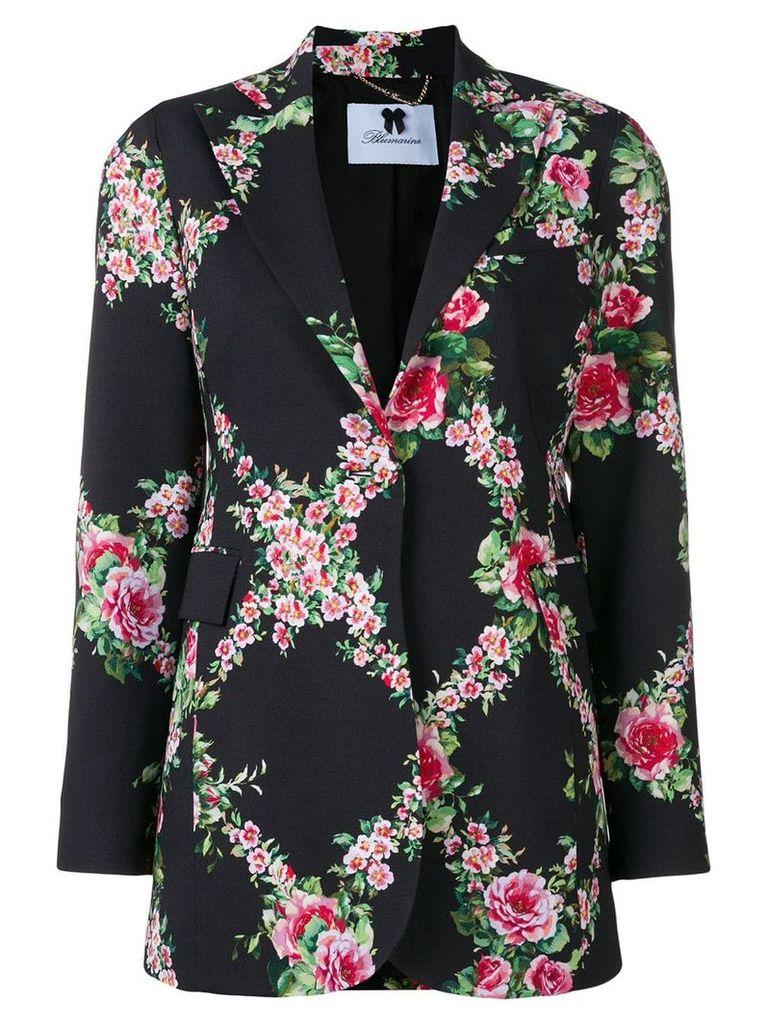 Blumarine floral print longline blazer - Black