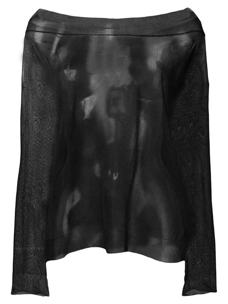 Semicouture off-shoulder sheer top - Black