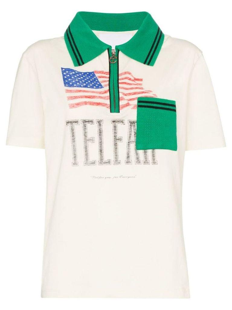 Telfar flag print polo shirt - Neutrals