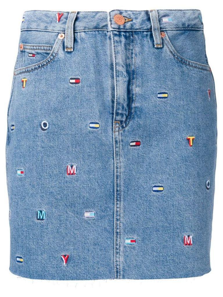 Tommy Jeans embroidered logo denim skirt - Blue