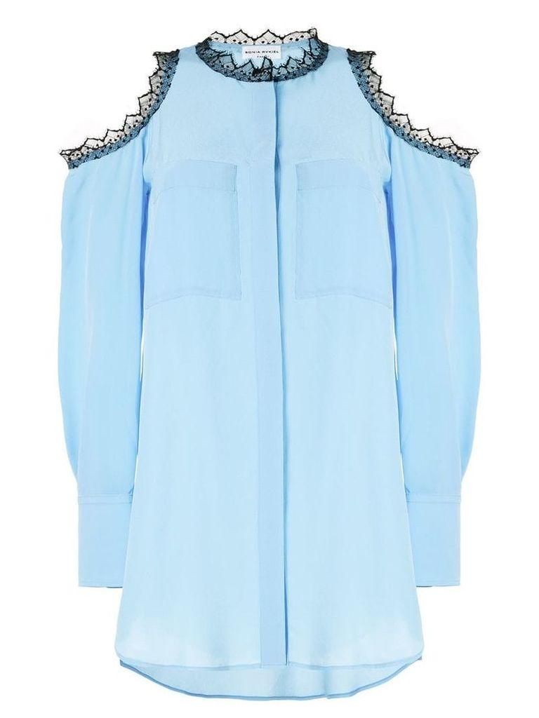 Sonia Rykiel lace trim cold shoulder shirt - Blue