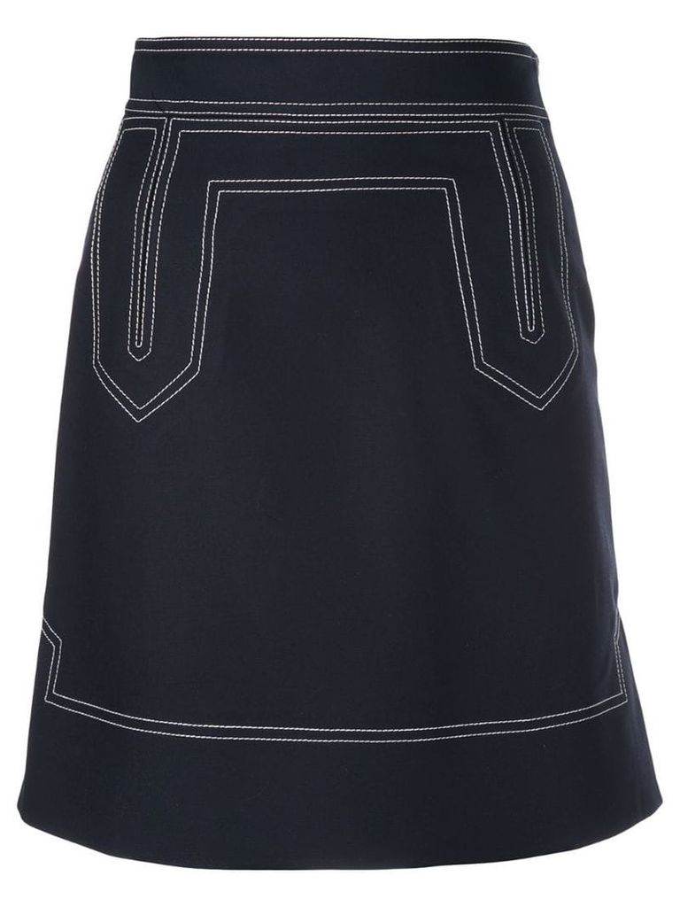 Khaite contrast stitch skirt - Blue