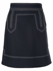 Khaite contrast stitch skirt - Blue