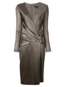 Cushnie belted v-neck midi dress - Brown