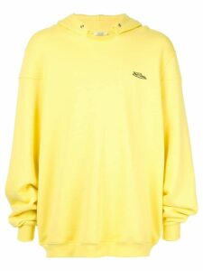 We11done distressed collar hoodie - Yellow