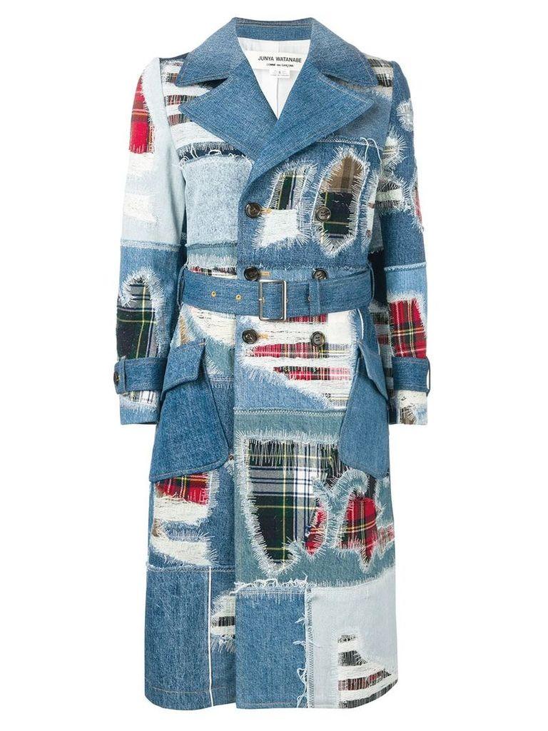 Junya Watanabe denim patchwork coat - Blue