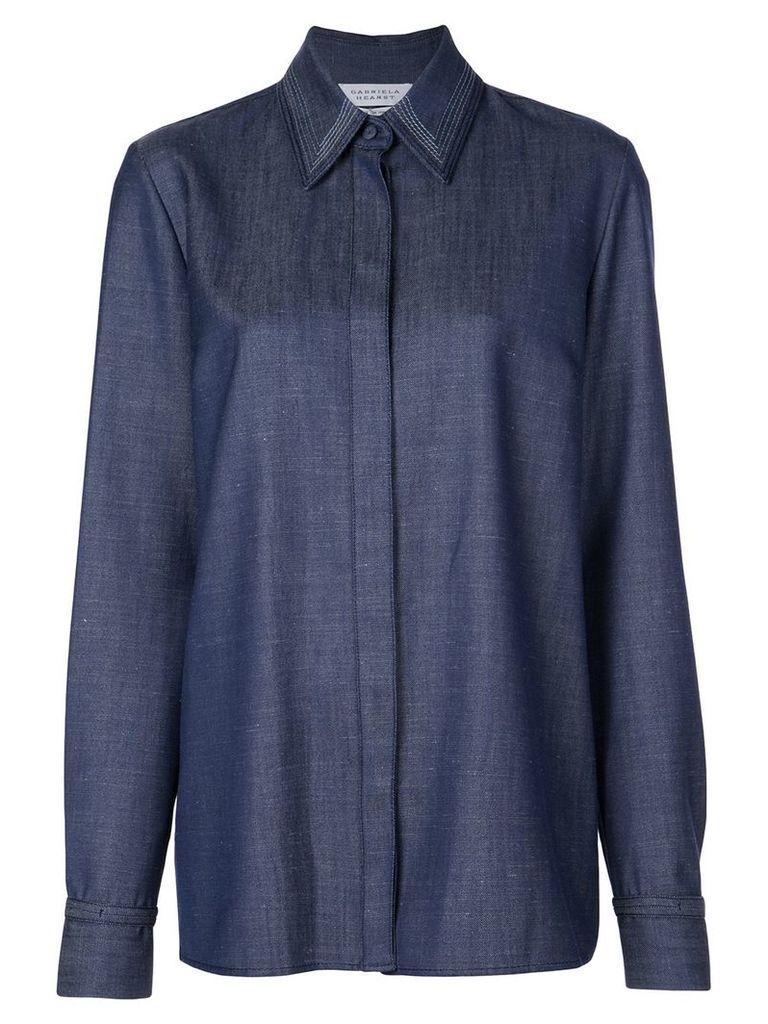 Gabriela Hearst stitched collar shirt - Blue