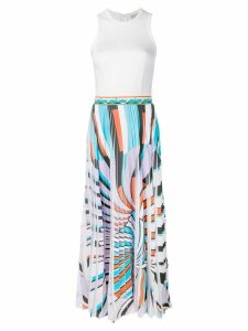 Emilio Pucci Shell Print Pleated Maxi Dress - White