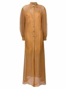 Alberta Ferretti long-sleeve shirt dress - Brown