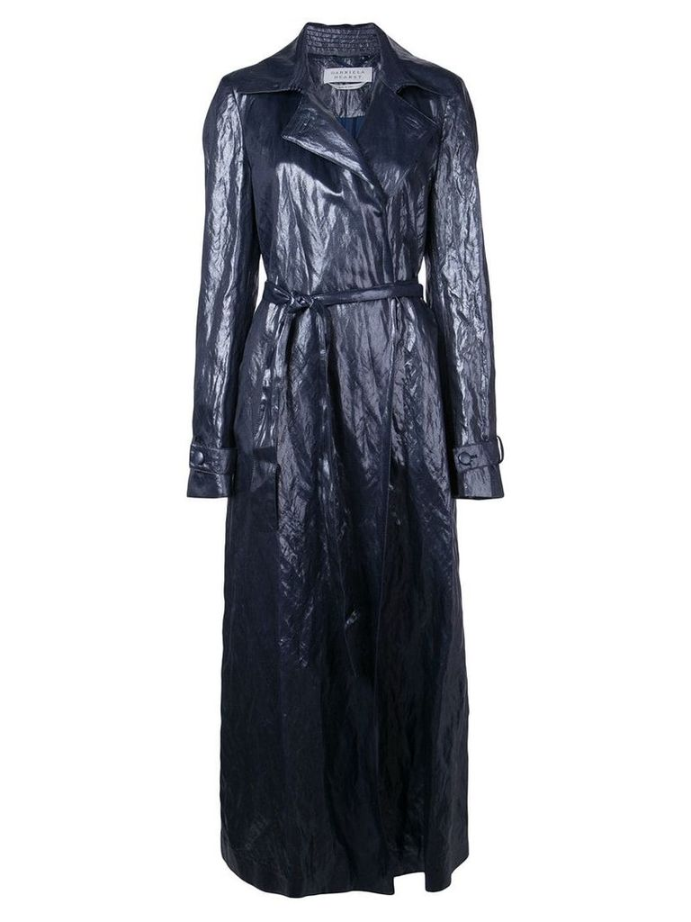 Gabriela Hearst long crumpled coat - Blue