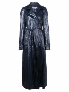 Gabriela Hearst long crumpled coat - Blue
