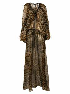 Saint Laurent leopard print maxi dress - Neutrals