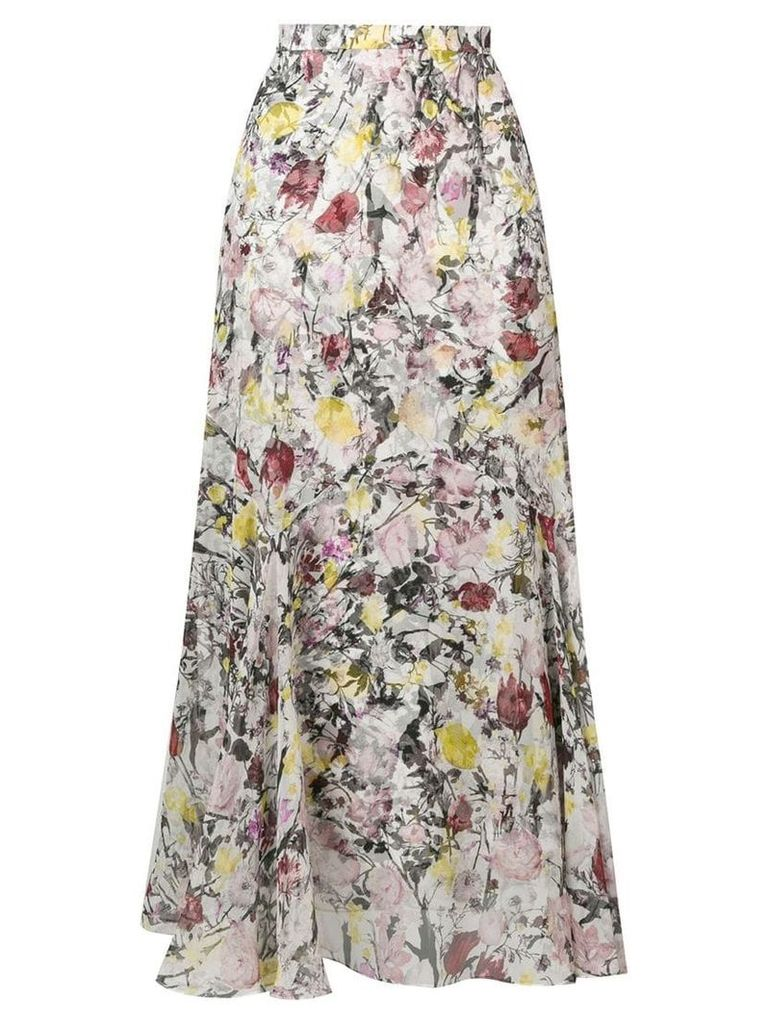 Erdem floral flared skirt - White