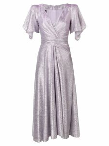 Talbot Runhof wrap-style long dress - Purple