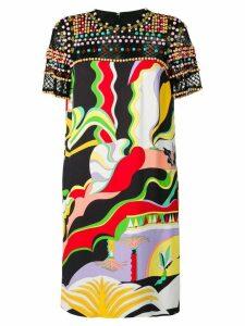 Emilio Pucci Beaded La Villa Print Dress - Black