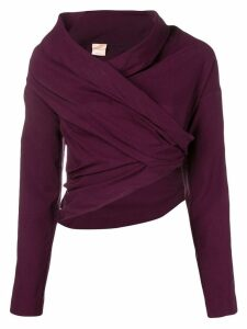 Erika Cavallini cropped cowl neck blouse - Red