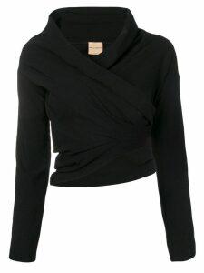 Erika Cavallini cropped cowl neck blouse - Black