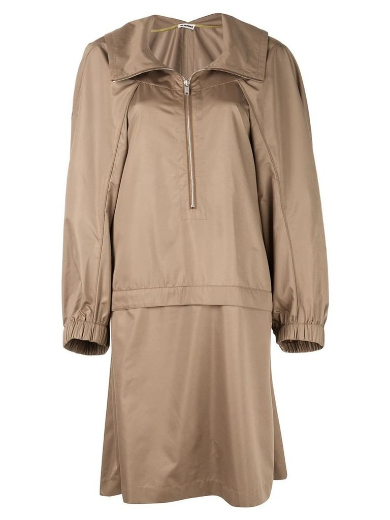 Jil Sander oversized-fit raincoat - Brown