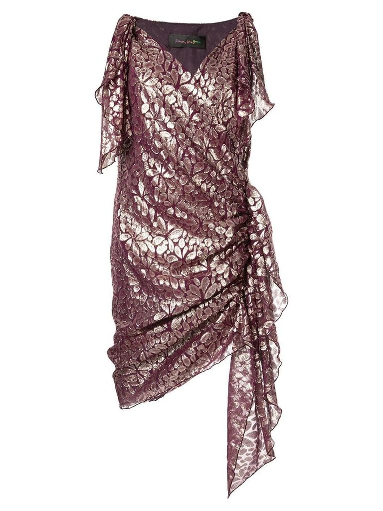 Romance Was Born Disco Paisley wrap dress - Purple