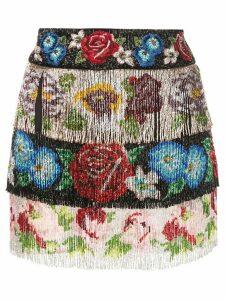 Dolce & Gabbana beaded fringe floral skirt - Multicolour