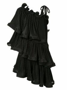 Romance Was Born Bloom pleat tiered dress - Black