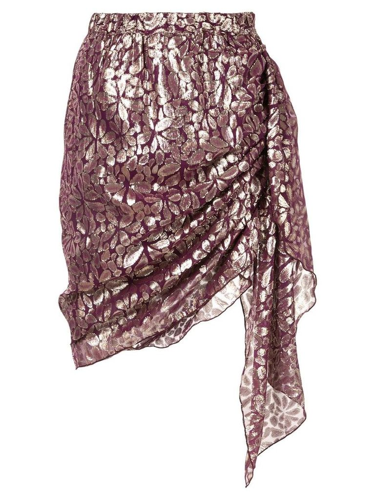 Romance Was Born Disco Paisley Wrap Skirt - Purple