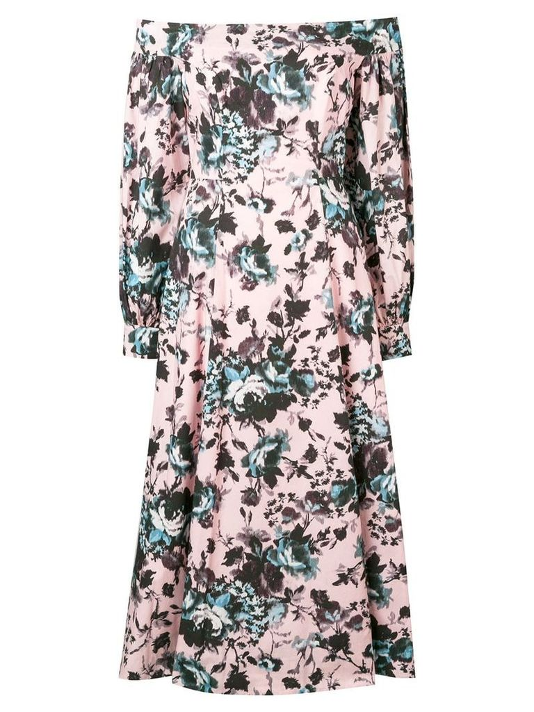 Erdem floral off-shoulder midi dress - Pink