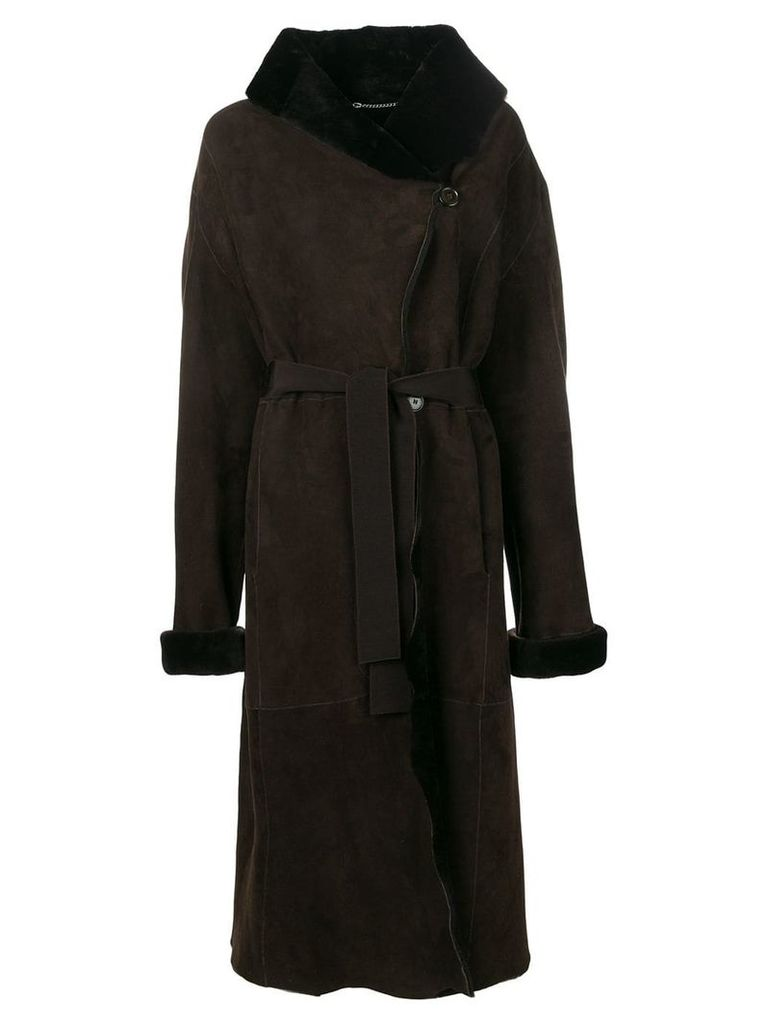 Liska wide collar coat - Brown
