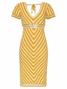 She Made Me Maalai V-neck crochet dress - Yellow