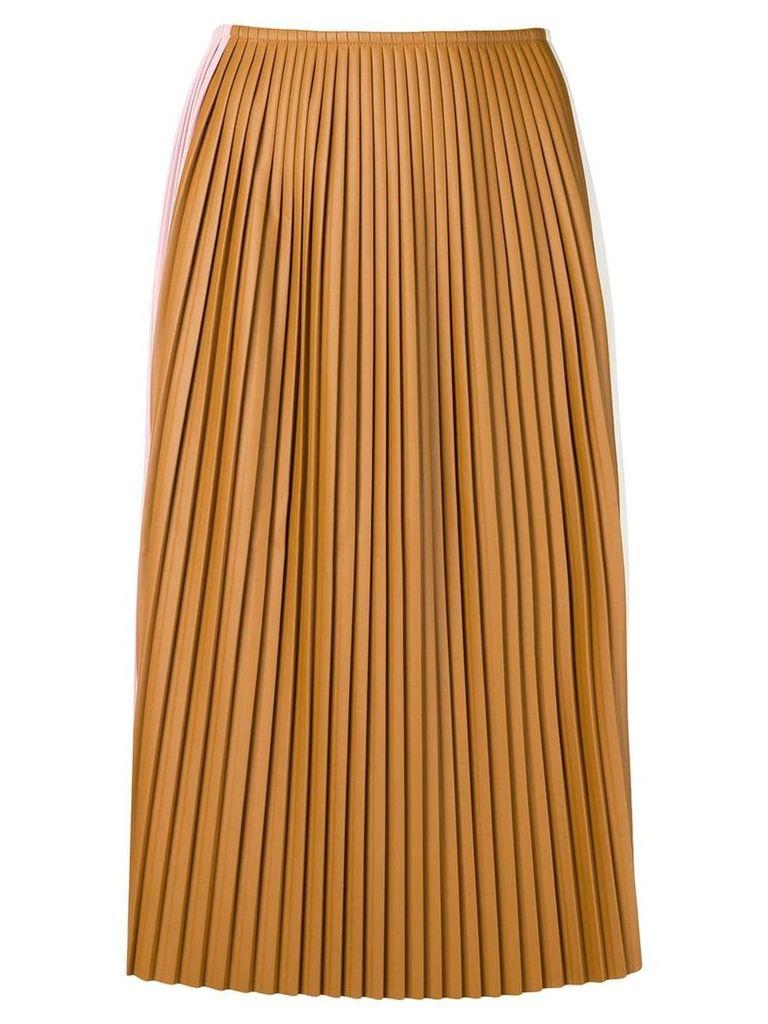 Plan C contrast panel pleated skirt - Brown