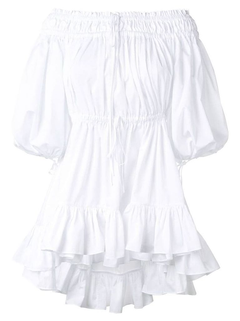 Alexander McQueen ruched bardot blouse - White