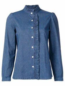 A.P.C. ruffled denim style shirt - Blue