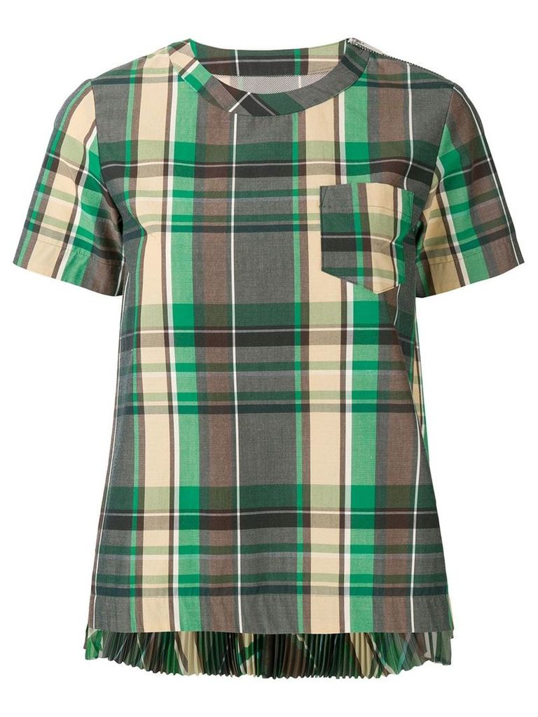 Sacai check top - Green