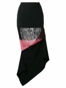 George Keburia panelled fringed skirt - Black
