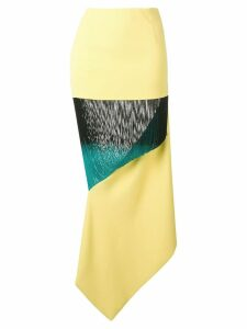 George Keburia panelled fringed skirt - Yellow