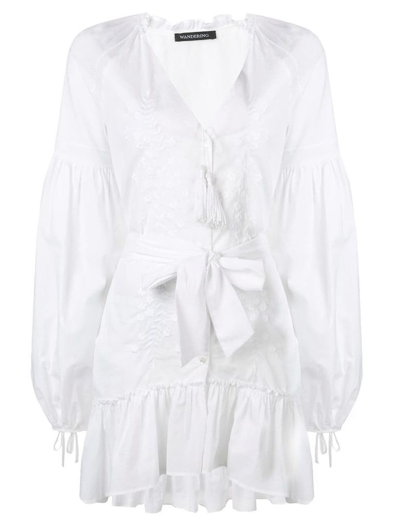 Wandering embroidered short dress - White