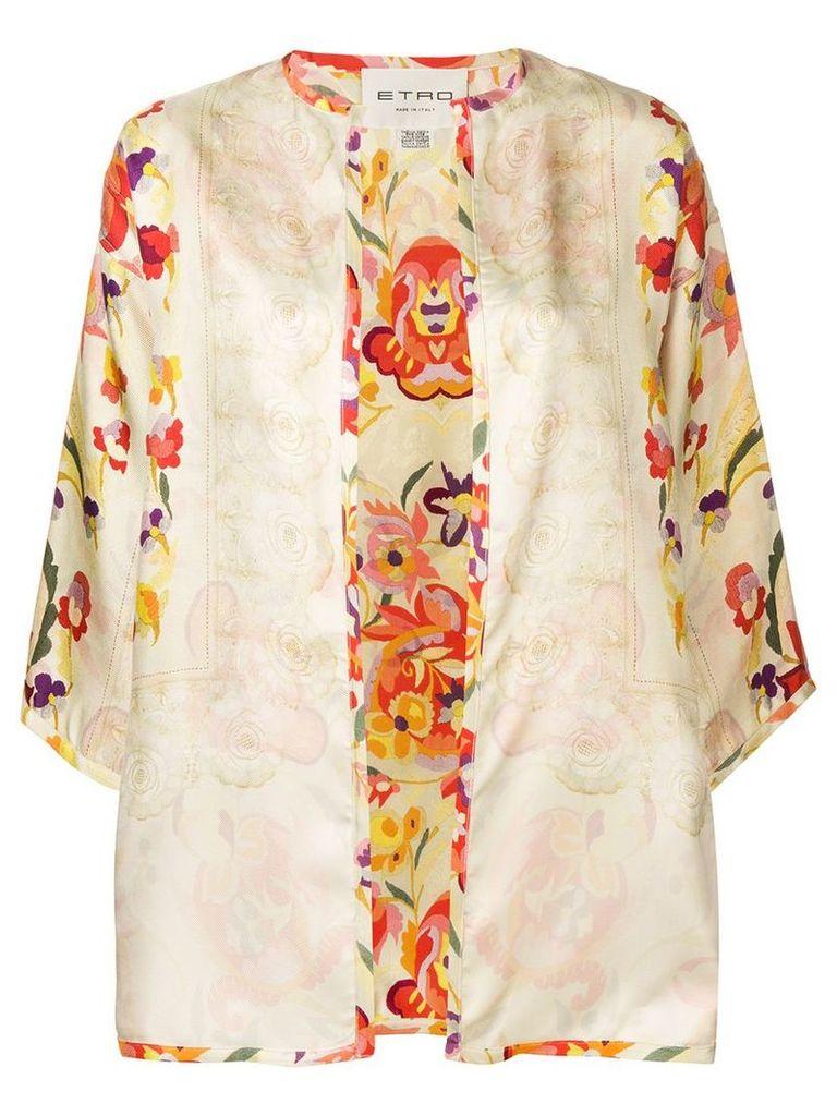 Etro floral print kimono - Neutrals