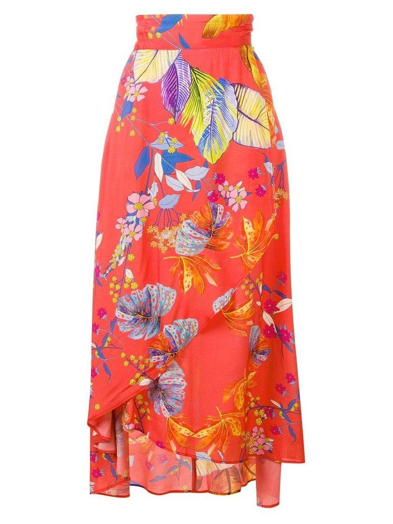 Pinko floral wrap skirt - Red