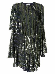 Osman Tina sequin asymmetric-tiered dress - Blue