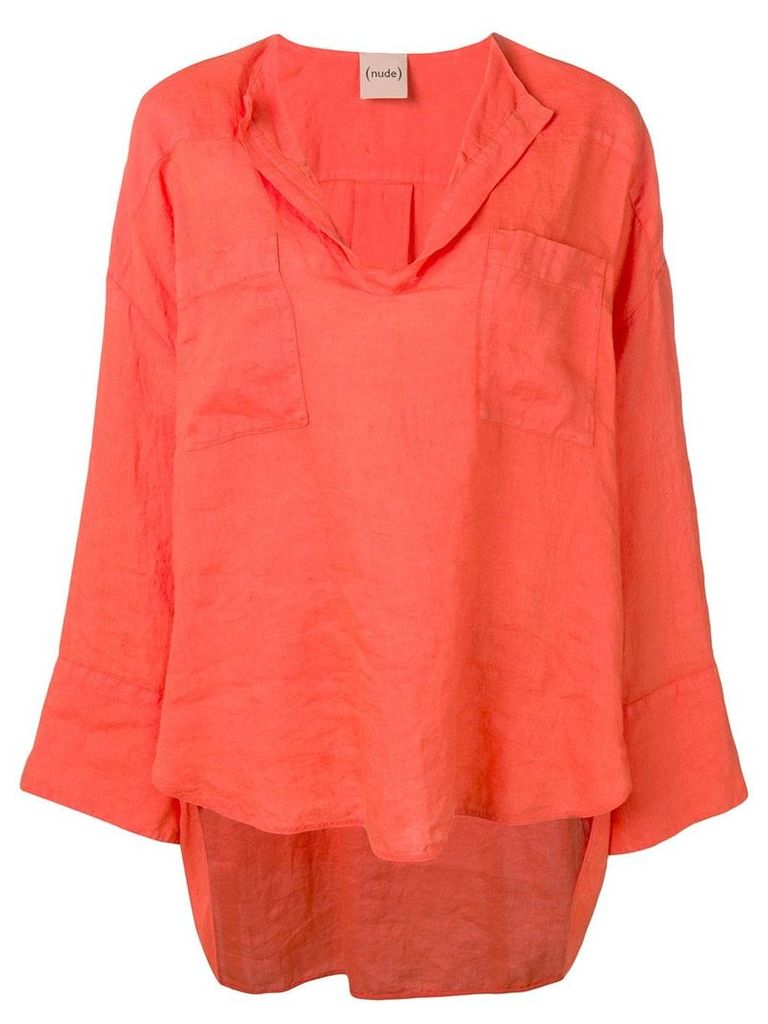 Nude V-neck T-shirt - Orange