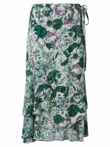Dagmar floral asymmetric skirt - Green